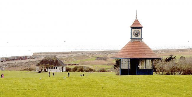 A view across Frinton's greensward and Clock Tower Shelter