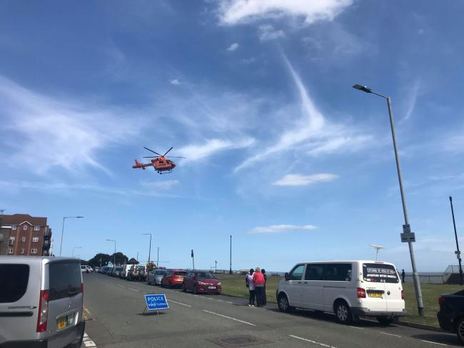 An air ambulance arrives at the scene in Clacton