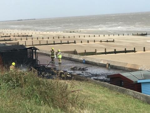 12 beach huts 'completely destroyed' by fire in Frinton