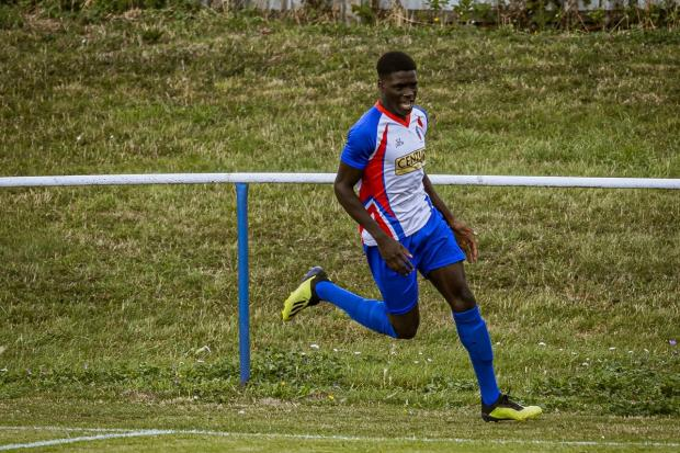 Mehki McKenzie scored for FC Clacton in their FA Cup tie against Witham Town. Picture: Rob Smith (RJS Photography)