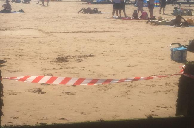 A warning tape was put in place at the beach in Frinton on Sunday. Photo credit: Mark Wray/PA Wire