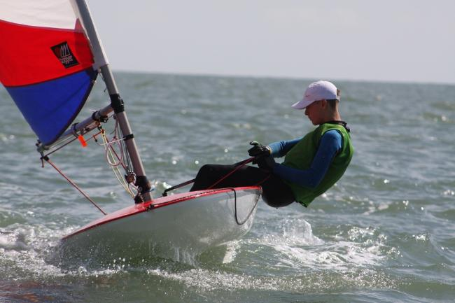 Race ace: Harrison Smith sailed his Topper to victory in the Gunfleet Splash event.