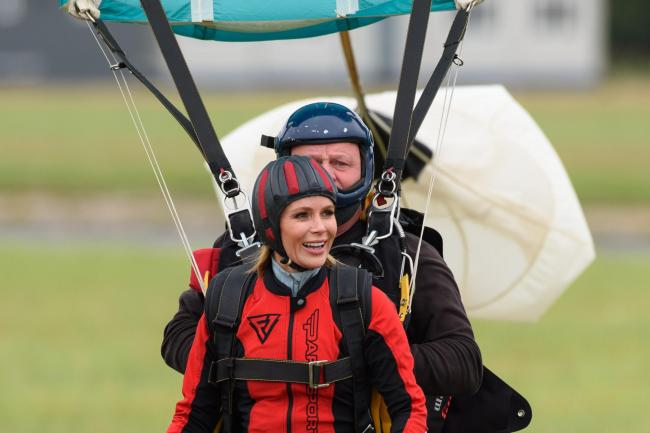 Amanda Holden during a skydive