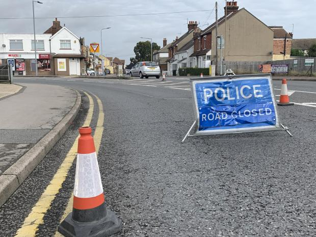 Clacton and Frinton Gazette: London Road was closed by Essex Police following the incident