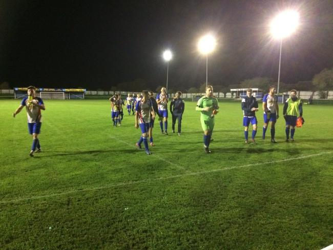 Clacton's players leave the pitch after their 5-3 victory against Whitton United