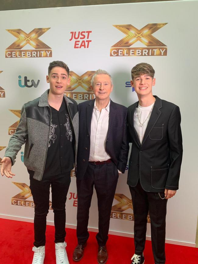 Max and Harvey with X Factor: Celebrity Judge Louis Walsh