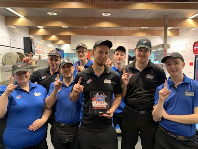 Top shop: Staff from the Domino's shop in Clacton