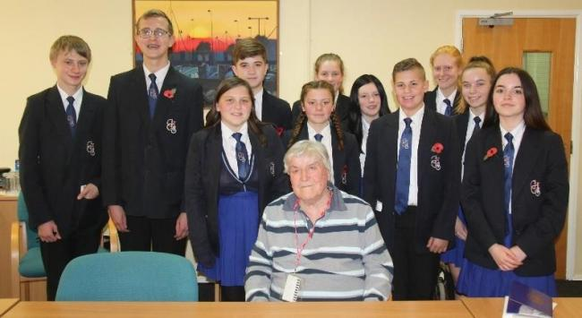 Veteran - John Northcott spoke to students at Clacton County HIgh School