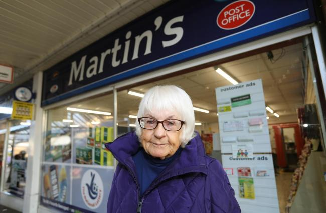 WORRIED RESIDENT: Christine Carpenter is concerned that the Post office in The Triangle in Frinton may be lost.