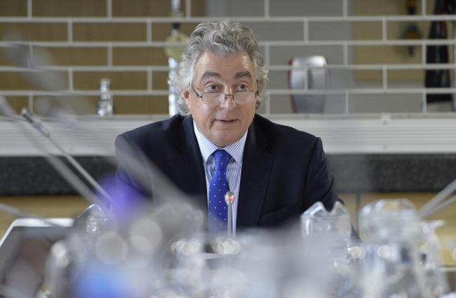 Planning Inspector Roger Clews at the hearings in 2018