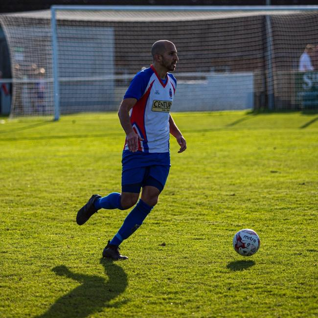 Chris Ribchester scored for FC Clacton but they bowed out of the FA Vase. Picture: Rob Smith (RJS Photography)