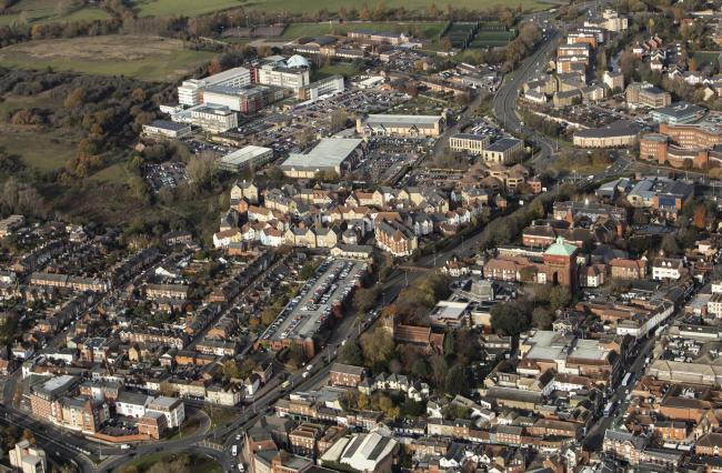 Nov 2019 aerial photography..Colchester town centre.