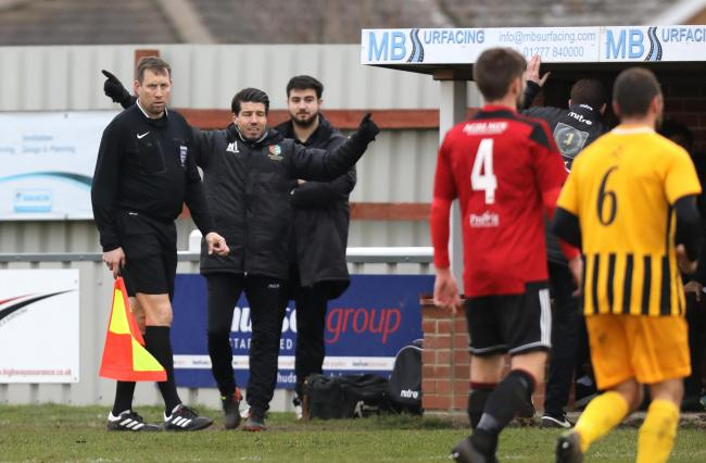 Brightlingsea manager Kem Izzet pictured during Saturday's draw against Folkestone Invicta Picture: STEVE BRADING
