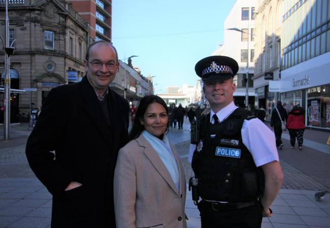 Priti Patel, MP James Duddridge and Chief Inspector Ian Hughes