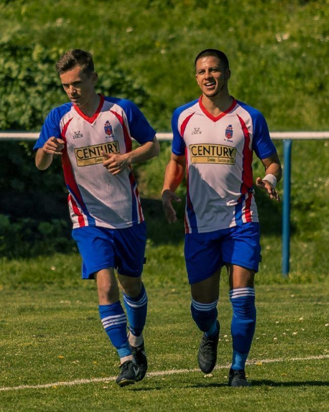 Deadly duo: Adam Hampson (left) and former FC Clacton team-mate Karl Andrade. Picture: Rob Smith (RJS Photography)