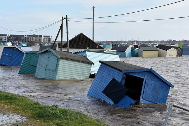 Beach huts float in Brightlingsea. Picture: Ant Niles