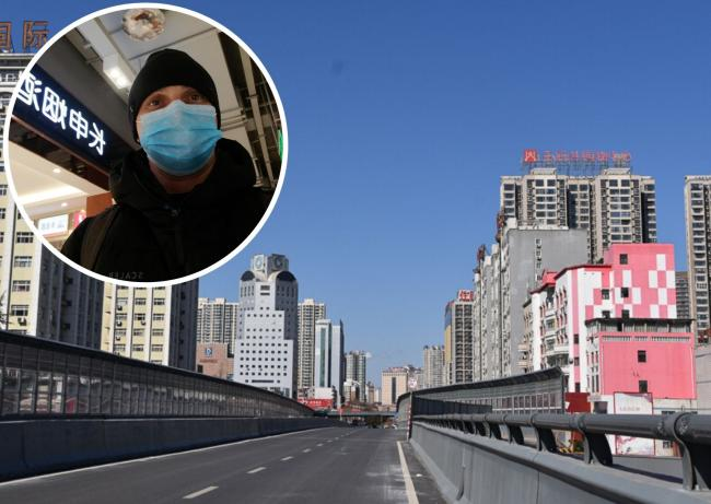 Steve Rohan wearing his face mask in China and  a deserted Luoyang