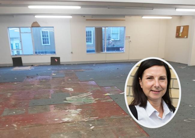 Refurb - work has begun to create the new rooms in High Street, Colchester and (inset) Denise King