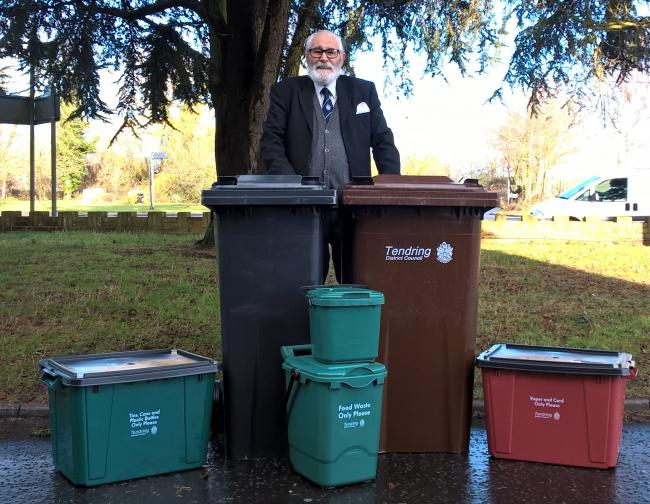 WASTE SERVICE: Michael Talbot with bins and recycling boxes. Picture: Will Lodge