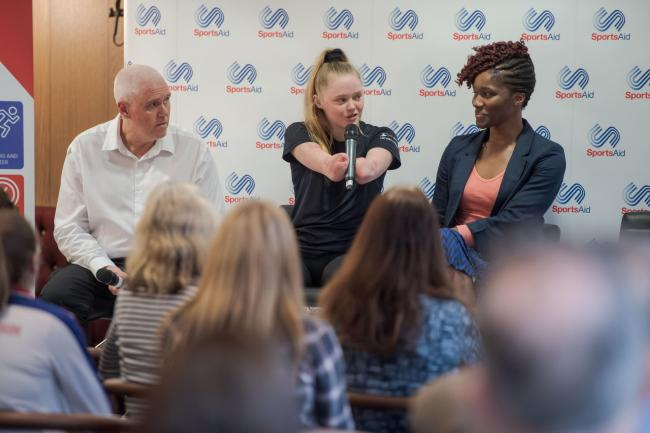 Stunning year: Tokyo Paralympic hopeful Ellie Challis, speaking at a SportsAid event in London.