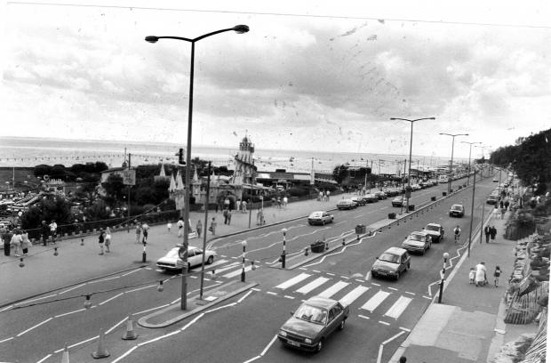 Clacton and Frinton Gazette: Western Esplanade in the 1980s with Peter Pan's on the left. Picture taken outside the old Fisherman's Wharf
