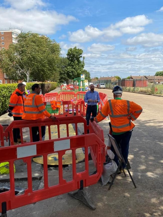 Connected - James Duddridge meets workers installing the fibre network in Whittingham Avenue, Southend.