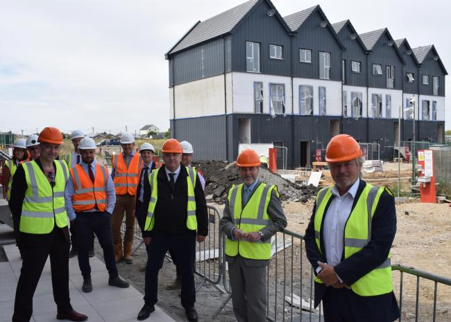 New homes - Tendring Council leader Neil Stock, councillor Paul Honeywood, housing minister Chris Pinche and Clacton MP Giles Watling in Jaywick