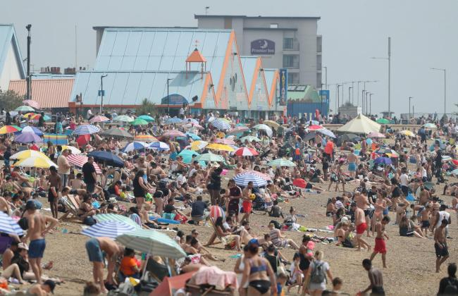 Packed beaches in Southend
