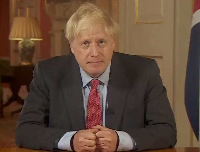 Boris Johnson during his televised address to the nation this evening