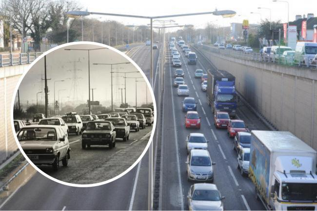 Not an unusual sight - south Essex commuters have been hampered by traffic on the A127 despite junction upgrades since the 1980s (inset)