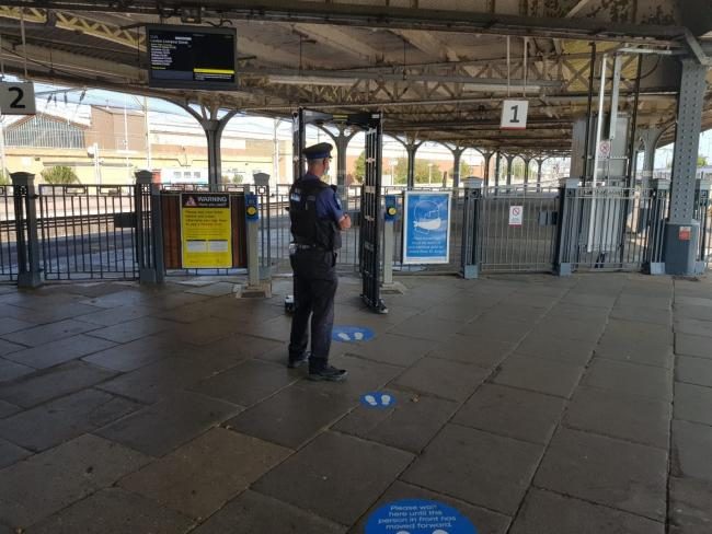 WEAPON DETECTOR: Passengers using Clacton train station were asked to step through the police's knife arch