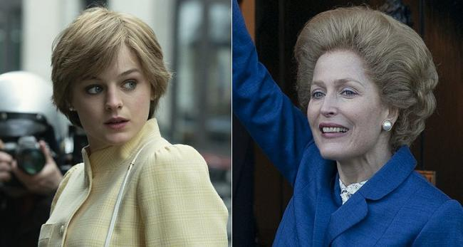 Stars - Emma Corrin as Princess Diana and Gillian Anderson as Margaret Thatcher pics by Netflex