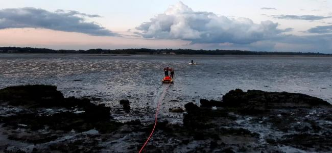 Stuck: RNLI crews were called to rescue a man stuck in the mud in Mistley Pictures: Holbrook Coastguard Rescue Team