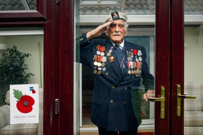 Salute - Bill Taylor who is supporting the Poppy Appeal                 Picture: Charlie Clift/PA
