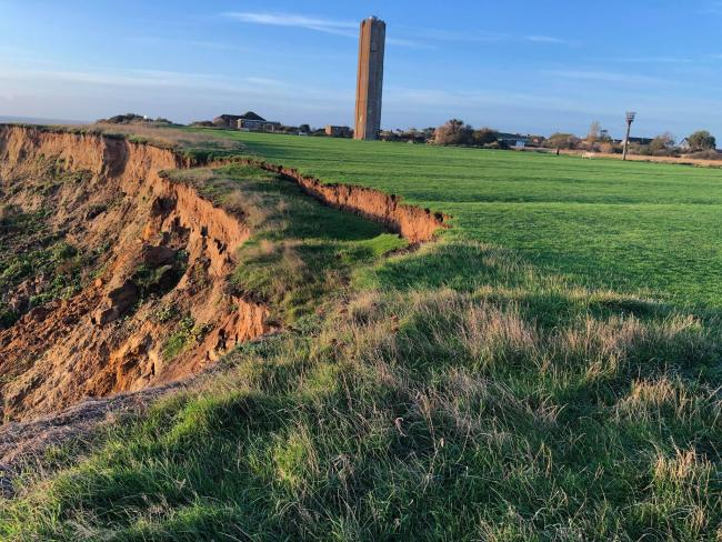 Coastal erosion - a section of the cliffs at the Naze in Walton starting to collapse. Picture: Pete Jarvis