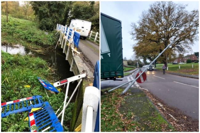 Total carnage: HGVs have damaged a bridge in Little Braxted (left) and knocked lamp-posts over in Rivenhall