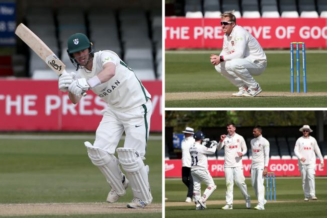Match drawn - Jake Libby (left) carried his bat to labour to the second-longest LV= Insurance County Championship innings in terms of minutes as Worcestershire drew with champions Essex Pictures: GAVIN ELLIS