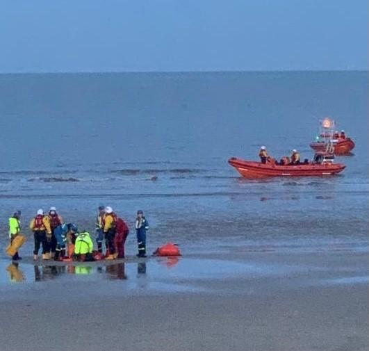 Kayaker rescued from North Sea by lifeboat crews. Picture: Trevor Halls/RNLI Walton & Frinton