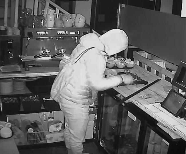 Break in - the thief was caught in the act on CCTV at Jaco's Cup of Coffee in Rosemary Road, Clacton
