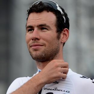 Mark Cavendish led the peloton at the intermediate sprint
