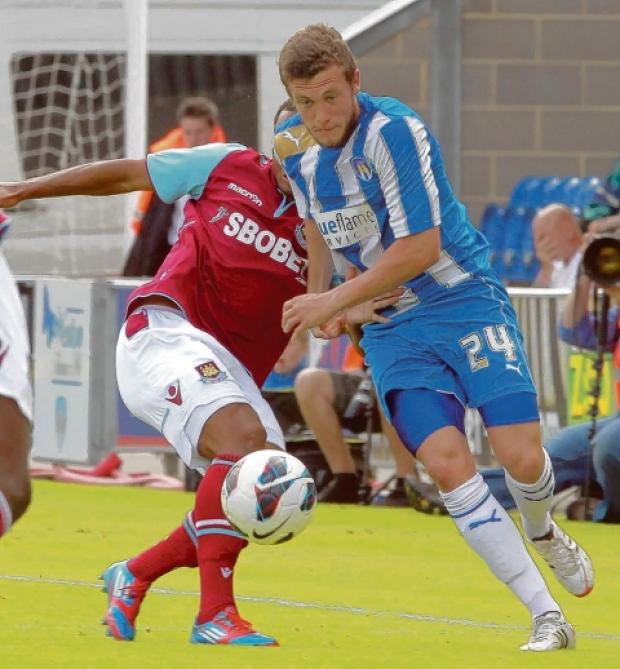 Promise - U's left-back Ben Coker in action against West Ham United last Saturday. Picture: NIGEL BROWN (CO60205-38)