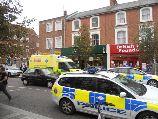 Police and ambulance crew were called to Clacton town centre following reports of a stabbing