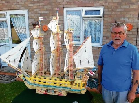Walton man creates massive matchstick ship for charity
