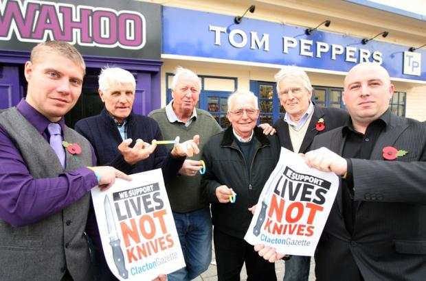 Staff of Tom Peppers, Danny McCarthy and Gary Harrison, with locals John Pickering, Geroge Saxon, Johnnie Hazell and Ray Thompson, are backing the Gazette's Lives Not Knives campaign.