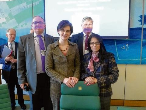 Mark Leslie and Derek Monnery of Essex Rail Users Federation with MPs Chloe Smith and Priti Patel