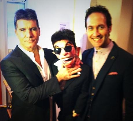 Steve Hewlett with his Simon Cowell puppet...and the man himself