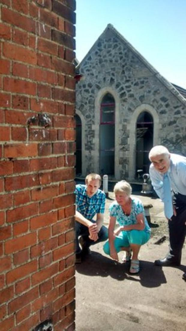 Clacton and Frinton Gazette: Church wardens inspect the damage
