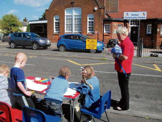 Young artists at Walton Pre-school  get to work