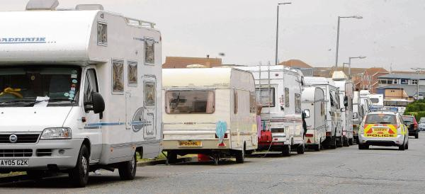 Travellers on Clacton seafront