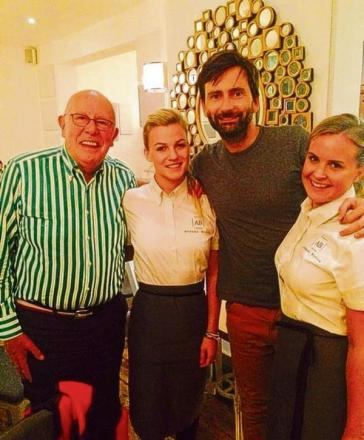 Richard Wilson and David Tennant with Avenue Bistro staff